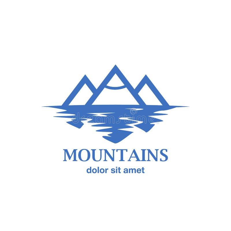 Montagne blu astratte con la riflessione nel lago royalty illustrazione gratis