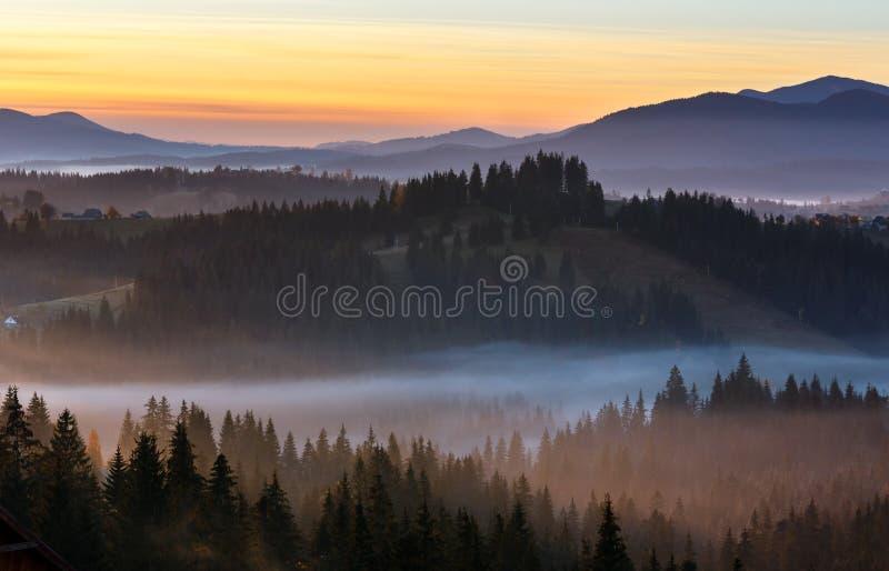 Montagne carpathienne d'automne brumeux de début de la matinée, Ukraine photographie stock libre de droits