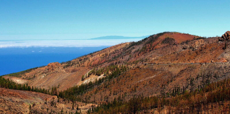 Montagne, ciel bleu, belle vue, Ténérife image libre de droits