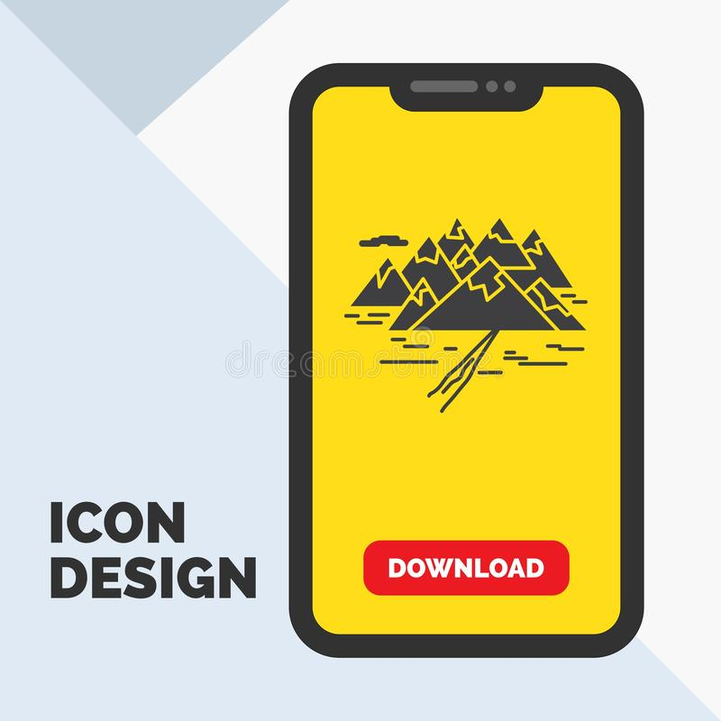Montagne, colline, paysage, roches, icône de Glyph de fente dans le mobile pour la page de téléchargement Fond jaune image libre de droits