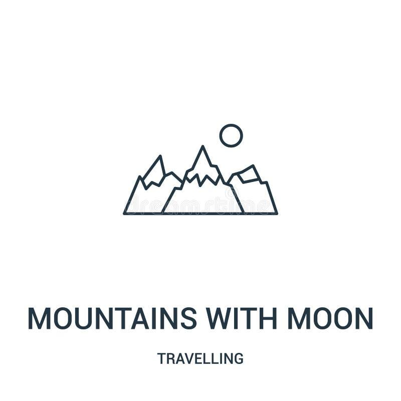 montagne con il vettore dell'icona della luna dalla raccolta di viaggio Linea sottile montagne con l'illustrazione di vettore del illustrazione vettoriale
