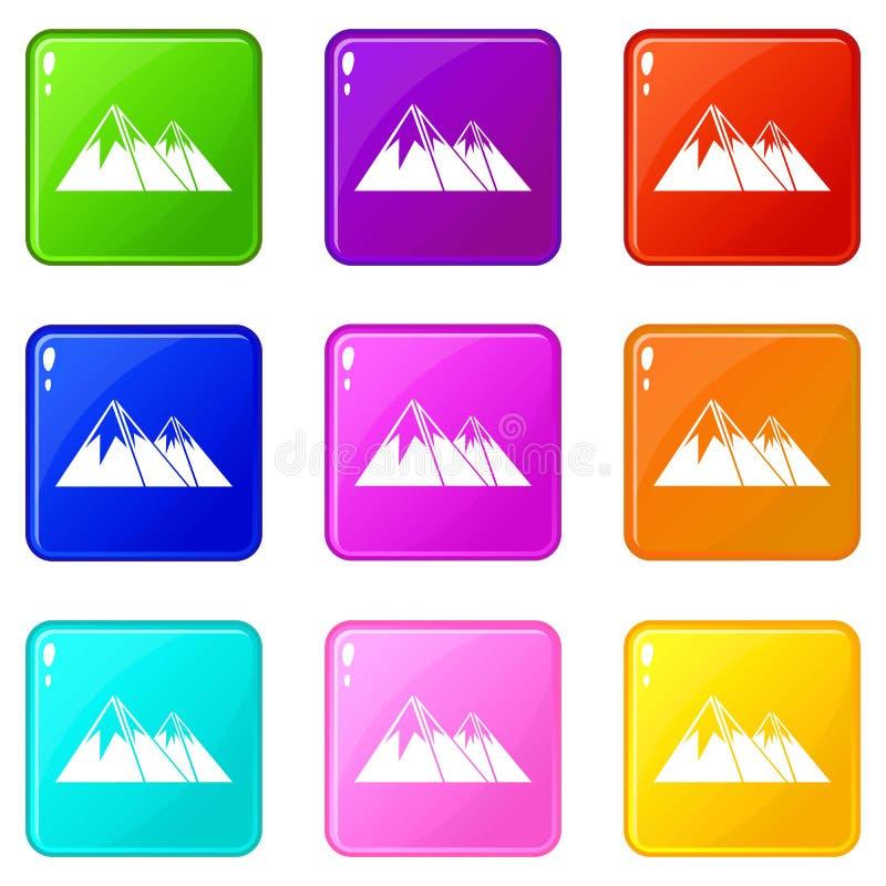 Montagne con l'insieme delle icone 9 della neve royalty illustrazione gratis