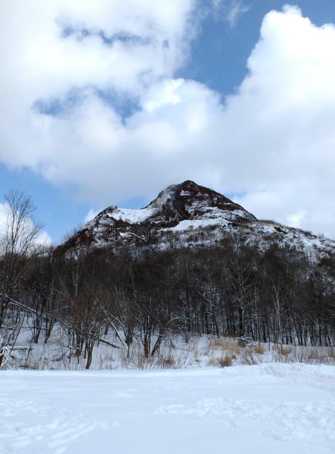 Montagne couverte par le fond de neige en ciel bleu photo libre de droits