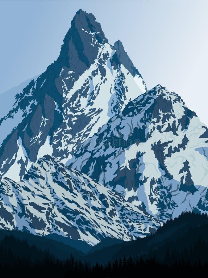 Montagne d'Ama Dablam de vecteur sur le chemin au camp de base d'Everest illustration stock