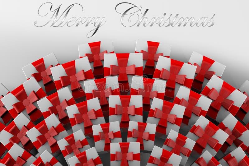 montagne 3D des cadeaux de Noël et Noël d'inscription du Joyeux illustration libre de droits