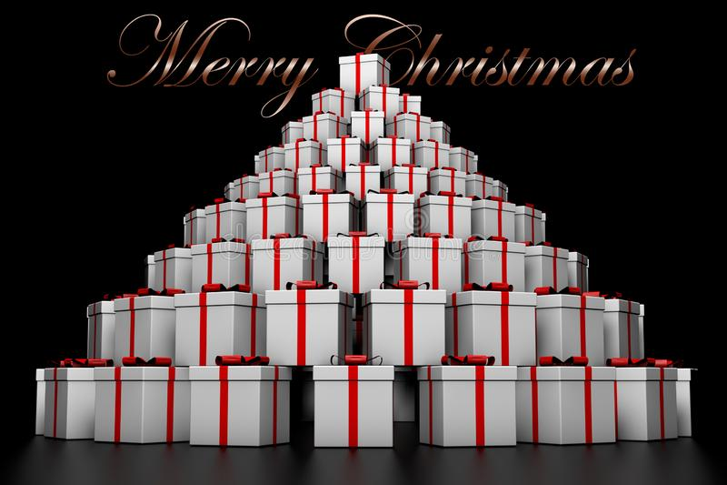 montagne 3D des cadeaux de Noël et Noël d'inscription du Joyeux illustration stock