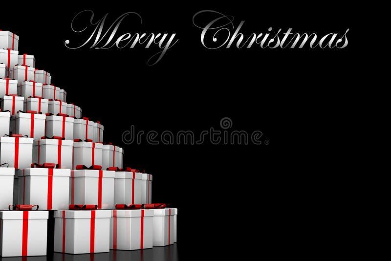 montagne 3D des cadeaux de Noël et Noël d'inscription du Joyeux illustration de vecteur