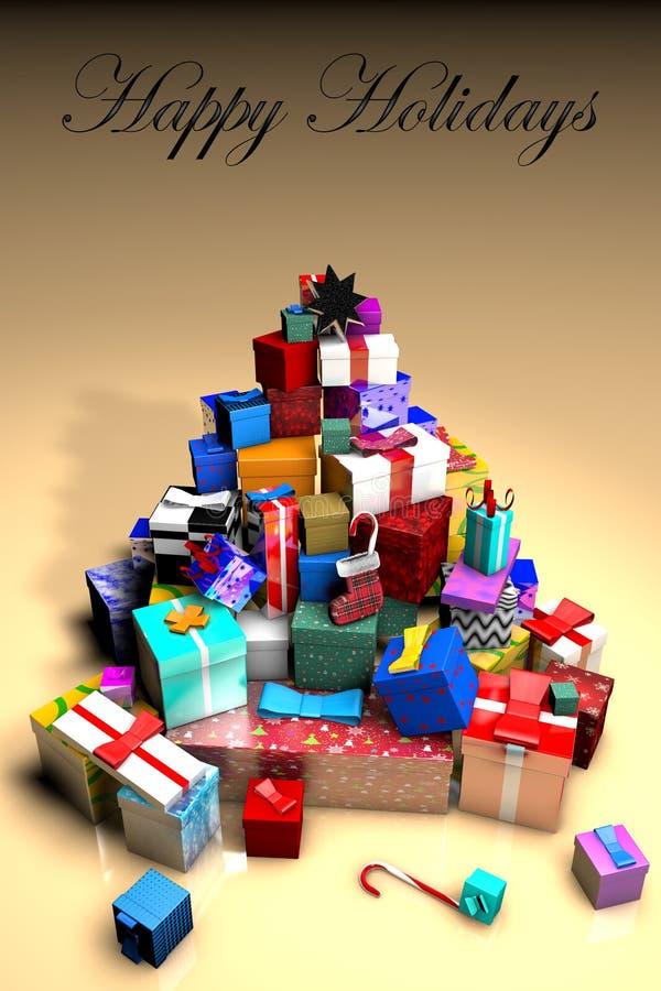 montagne 3D des cadeaux sous forme d'arbre de Noël et d'inscription BONNES FÊTES illustration libre de droits
