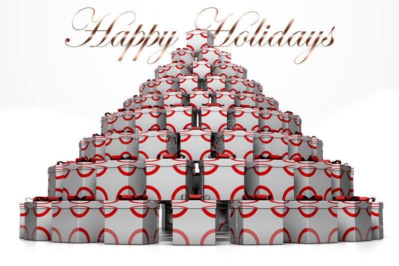montagne 3D des cadeaux sous forme d'arbre de Noël et d'inscription BONNES FÊTES illustration de vecteur