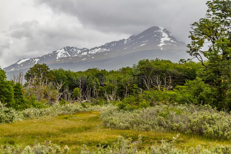 Montagne dans la baie de Lapataia, Tierra del Fuego National Park images stock