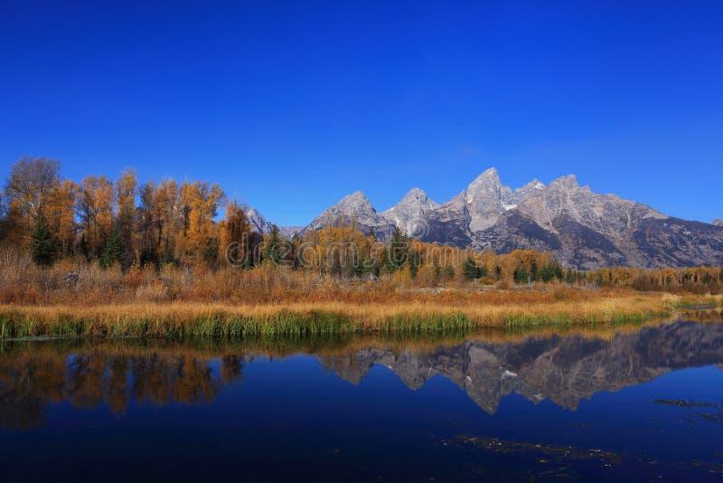 Montagne de ciel bleu avec des couleurs d'automne photo stock