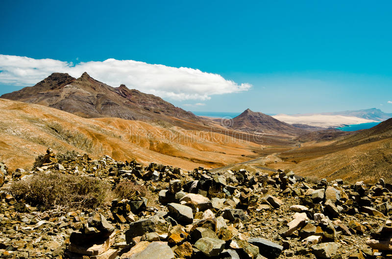 Montagne de désert, Fuerteventura, photo stock