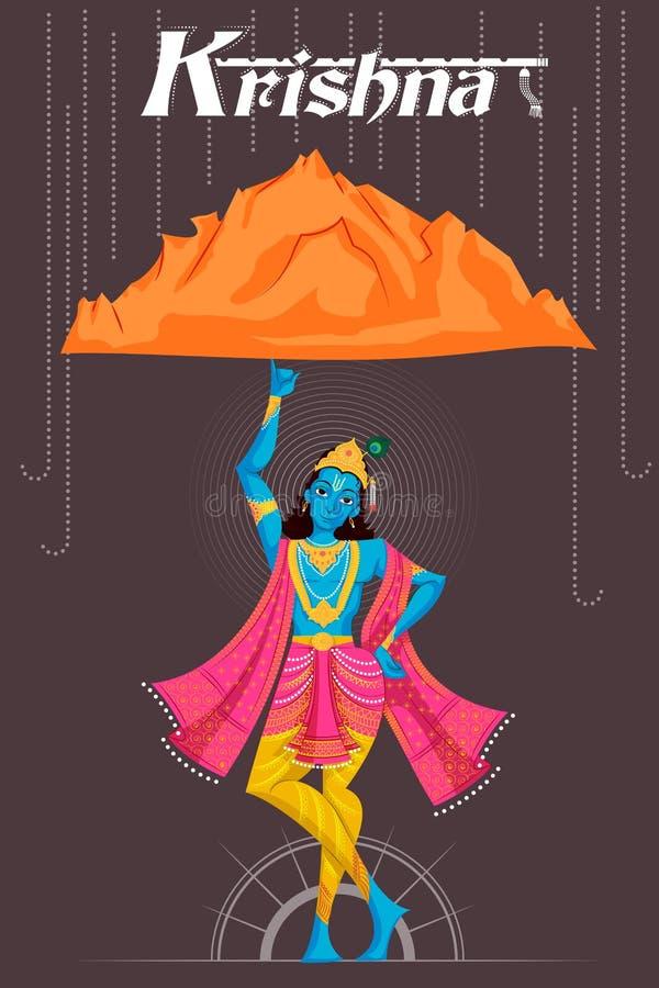 Montagne de levage de Krishna de Dieu indien illustration libre de droits