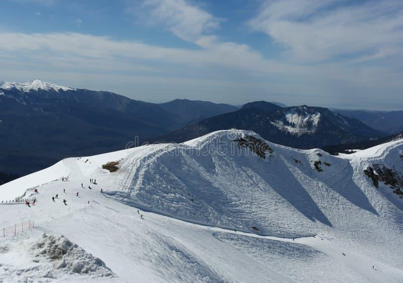 Montagne de neige, ski, paysage d'hiver, Sotchi, Russie images libres de droits
