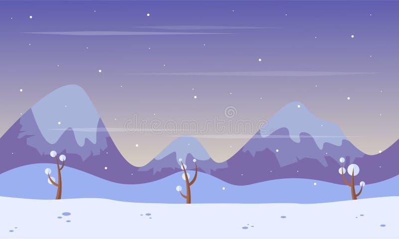 Montagne de paysage au jeu de fond d'hiver illustration stock