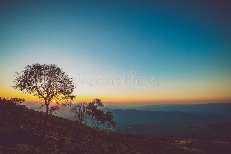 Montagne de paysage de cru au coucher du soleil photographie stock
