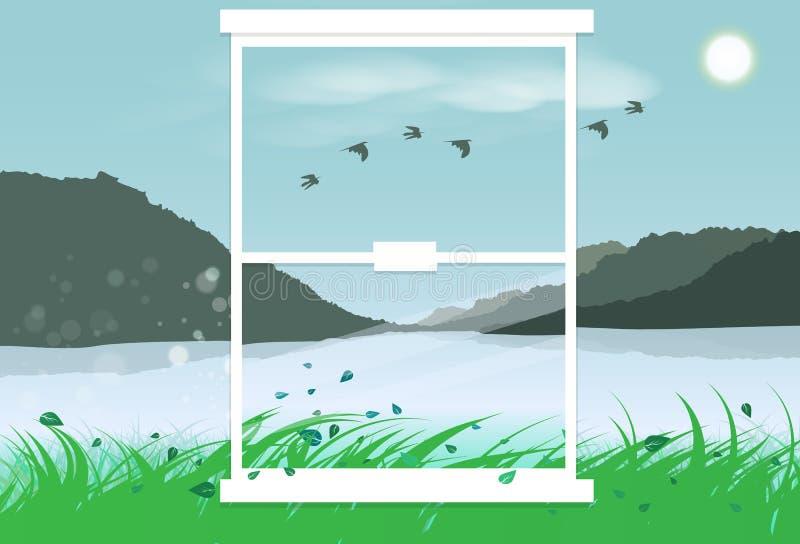 Montagne de paysage en dehors de l'apparence plate g de conception intérieure de miroir illustration stock