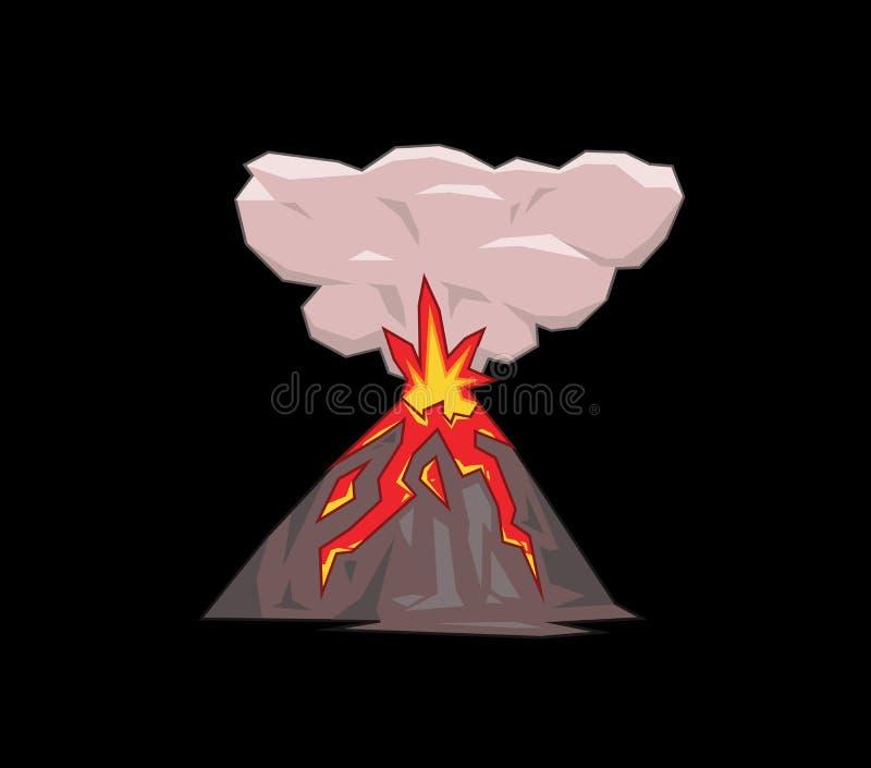 Montagne de volcan éclatant Illustration plate de vecteur D'isolement sur le fond noir illustration stock