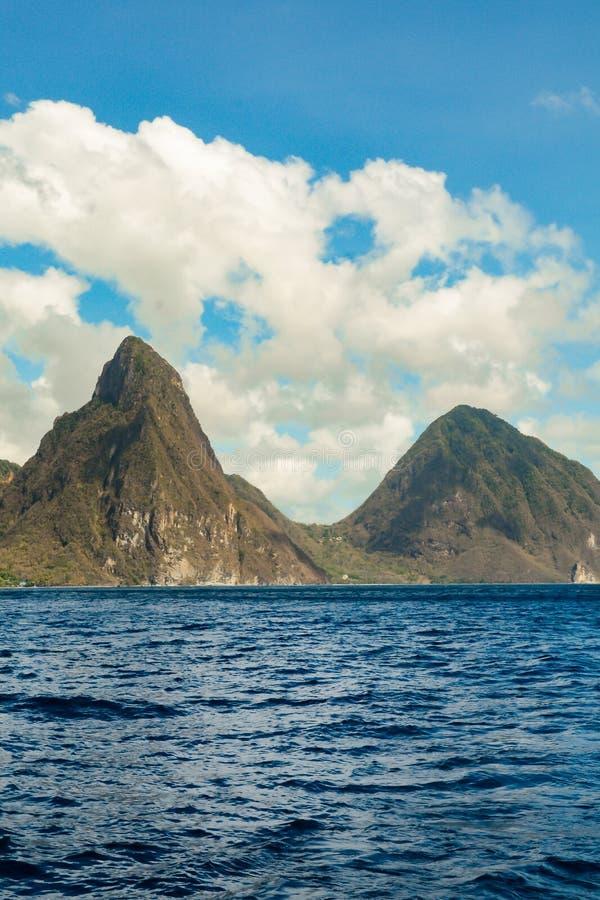 Montagne del chiodo da roccia nello St Lucia fotografia stock