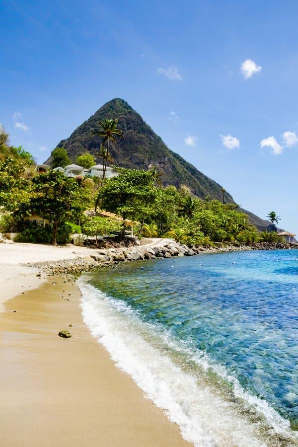 Montagne del chiodo da roccia nello St Lucia immagine stock libera da diritti