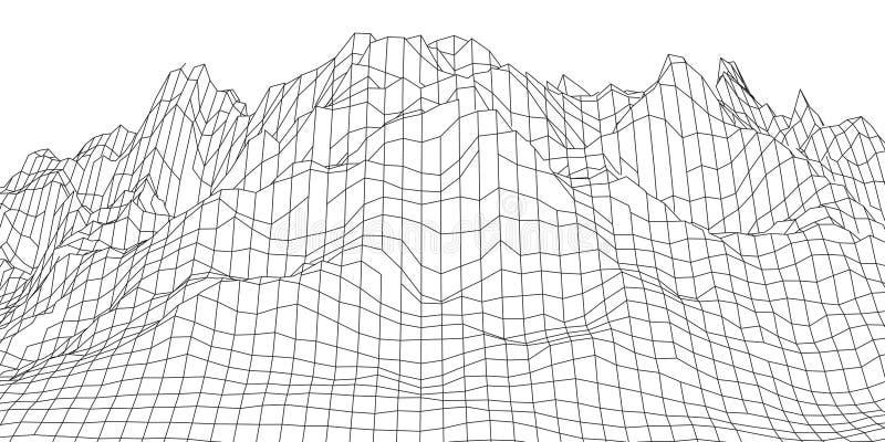 Montagne del paesaggio di Wireframe 3D Cartografia futuristica 3D Cavo del paesaggio di Wireframe Griglia del Cyberspace royalty illustrazione gratis