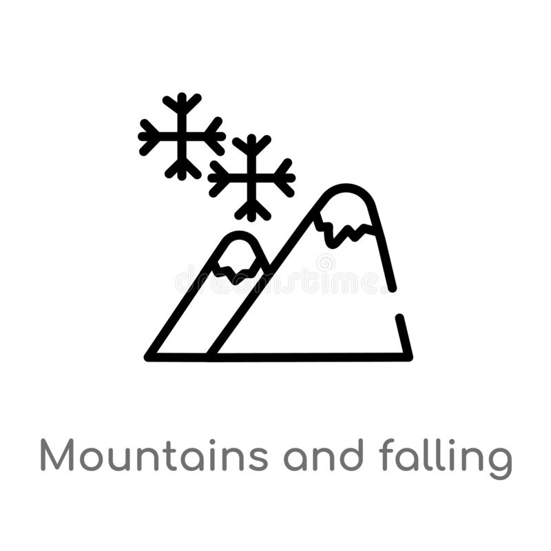 montagne del profilo ed icona di caduta di vettore dei fiocchi di neve linea semplice nera isolata illustrazione dell'elemento da royalty illustrazione gratis