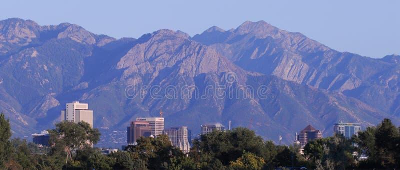 Montagne dell'orizzonte di Salt Lake City fotografia stock libera da diritti