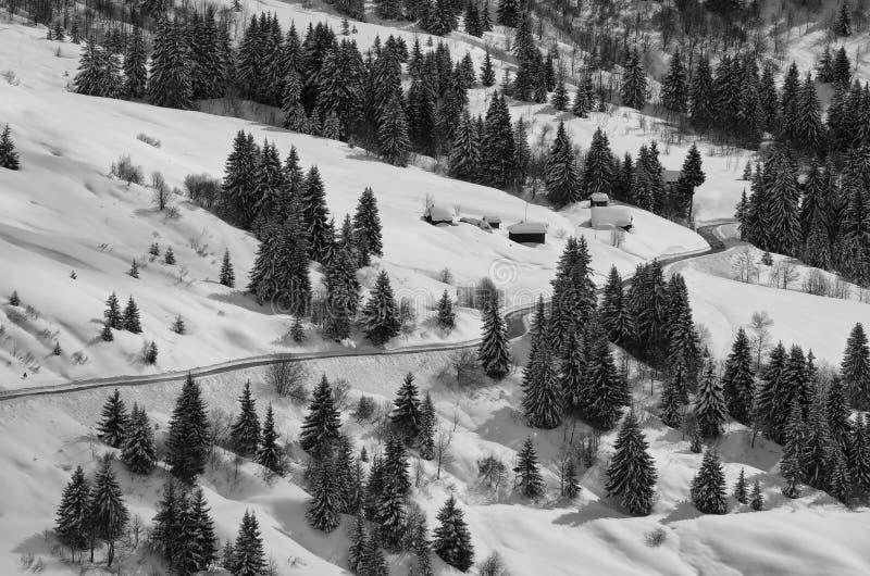 Montagne della strada di inverno fotografia stock