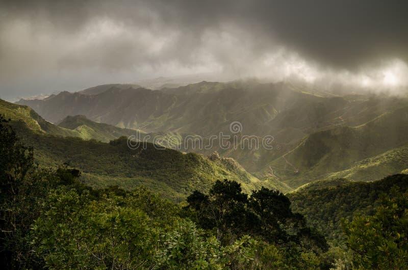 Montagne di Anaga sulle nuvole fotografia stock