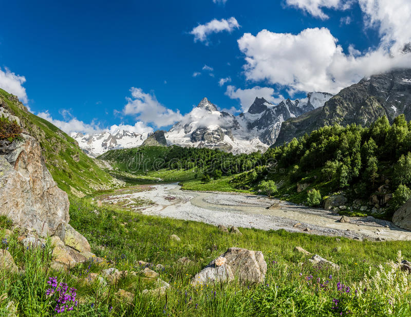 Montagne di Caucaso del Russo: L'Adyl-Unione Sovietica si rimpinza di nel giorno di estate soleggiato fotografia stock libera da diritti