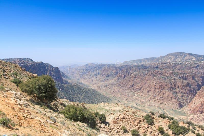 Montagne di Dana Nature Reserve, Giordania fotografie stock