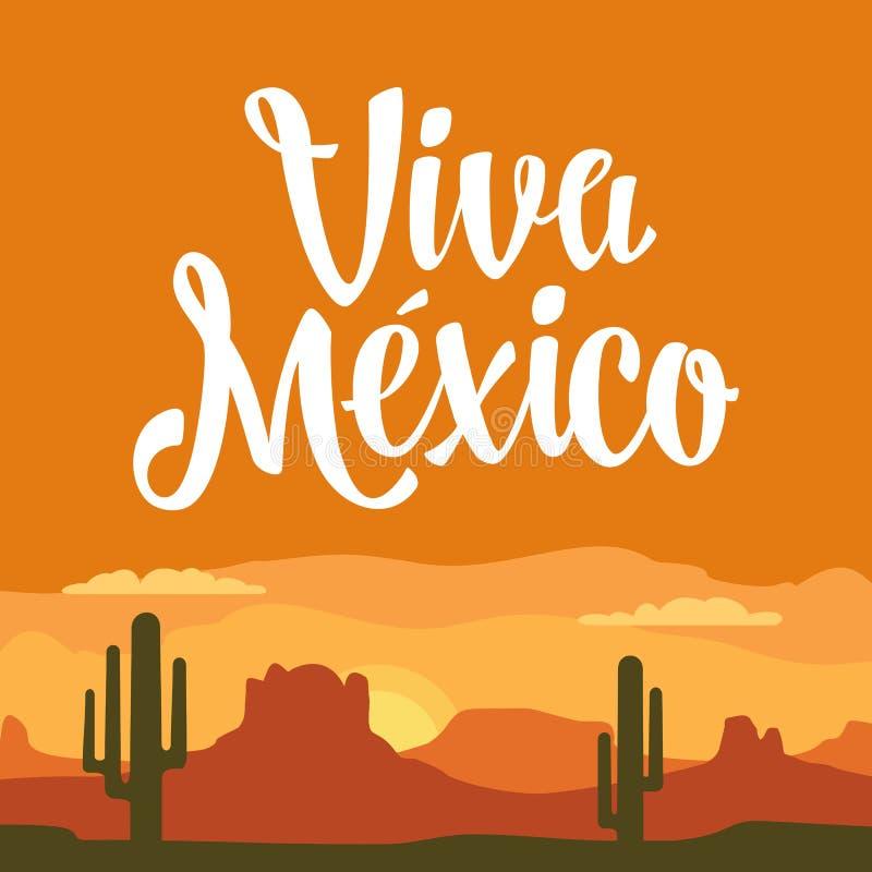 Montagne di panorama e cielo di tramonto con il cactus Illustrazione piana di vettore royalty illustrazione gratis