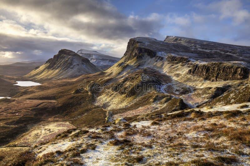 Montagne di Quiraing in isola di Skye immagine stock libera da diritti