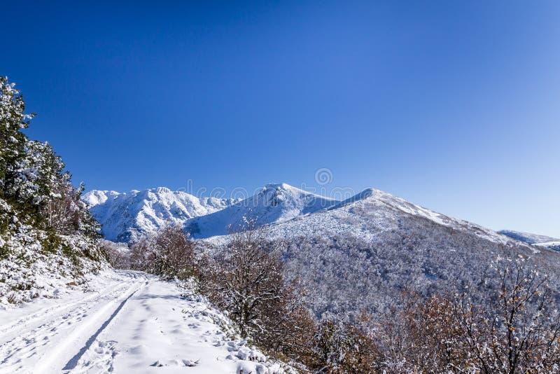 Montagne di Snowy in Galizia, Spagna fotografie stock libere da diritti