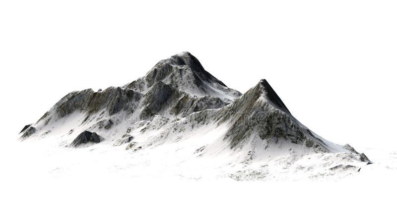 Montagne di Snowy - picco di montagna - isolate su fondo bianco immagine stock libera da diritti