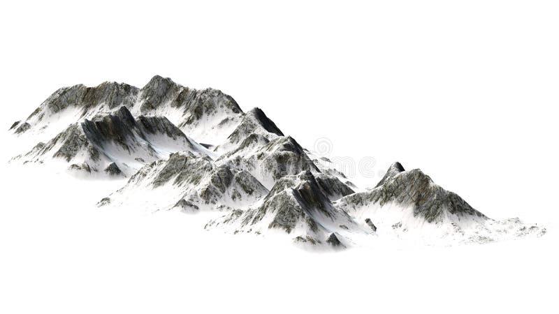 Montagne di Snowy - picco di montagna - isolate su fondo bianco fotografie stock