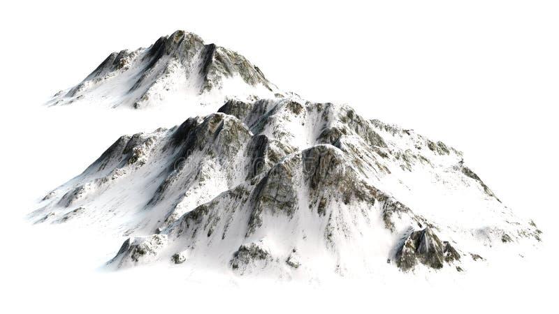 Montagne di Snowy - picco di montagna isolato su fondo bianco fotografia stock libera da diritti