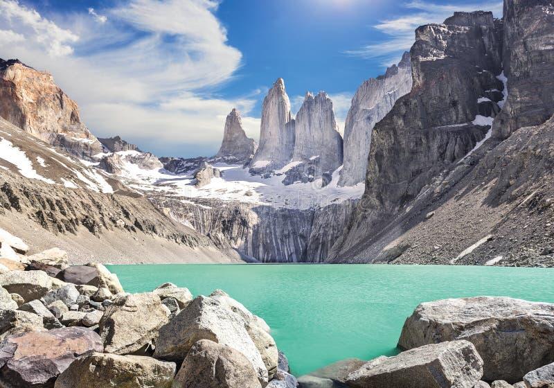 Montagne di Torres del Paine, Patagonia, Cile immagini stock libere da diritti