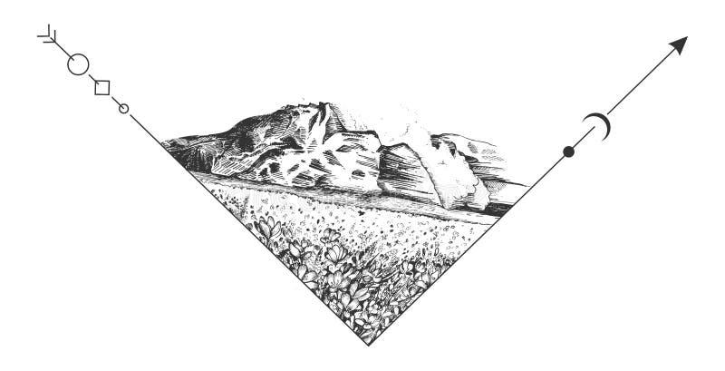 Montagne di vettore e paesaggio del prato illustrazione vettoriale