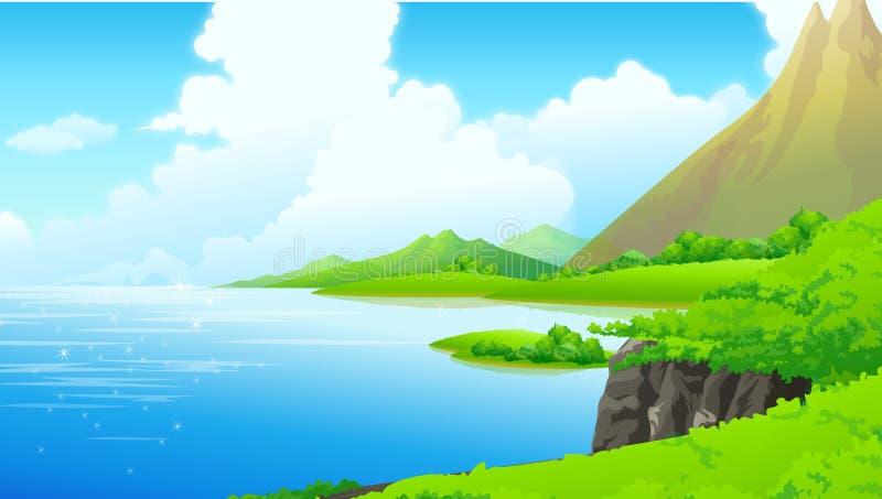 Montagne di vista illustrazione vettoriale