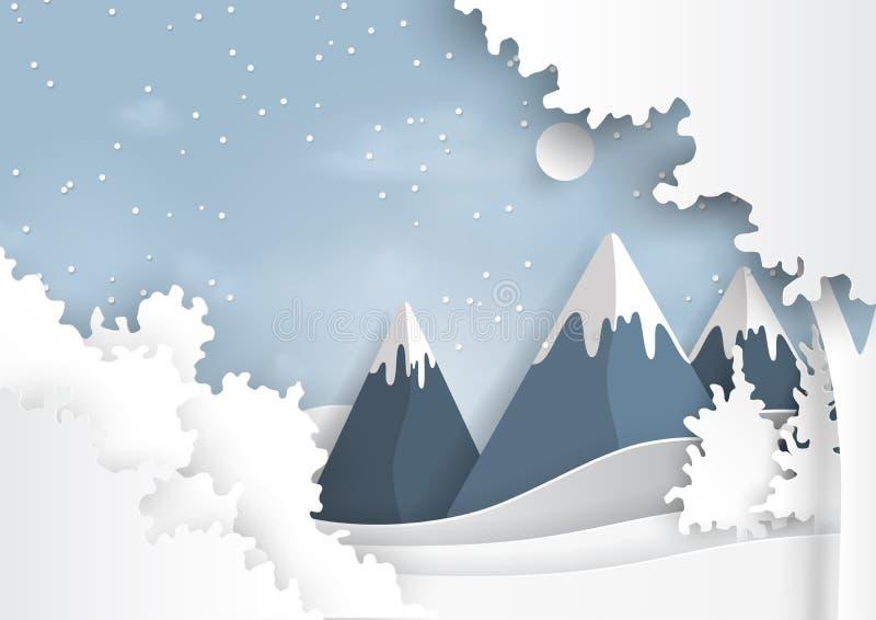 Montagne e fondo di inverno della neve illustrazione di stock