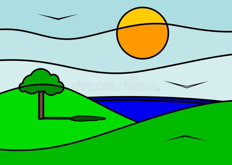 Montagne e lago royalty illustrazione gratis
