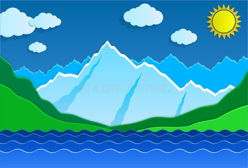 Montagne e lago illustrazione di stock