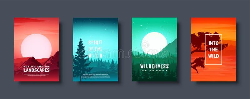 Montagne e paesaggio selvaggio della natura della foresta Viaggio ed avventura Panorama Nel legno Linea di orizzonte Alberi, nebb illustrazione di stock