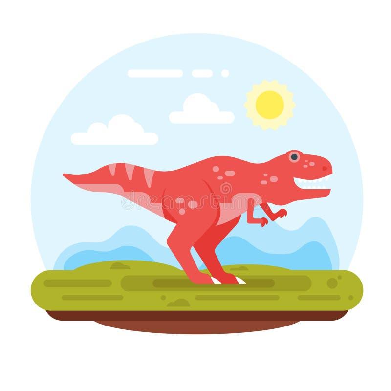 Montagne e Tirannosauro preistorici del paesaggio illustrazione vettoriale