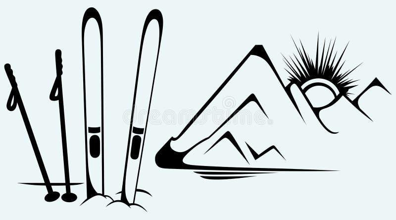 Montagne ed attrezzature dello sci illustrazione vettoriale
