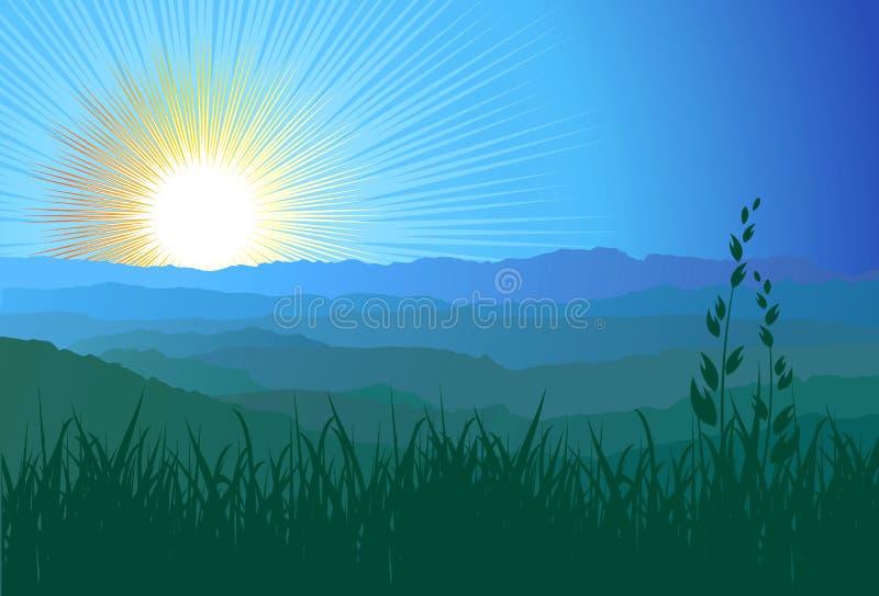 Montagne, erba e luce solare/vettore royalty illustrazione gratis