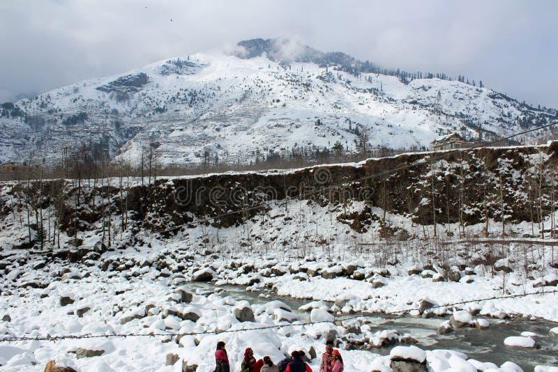 Montagne et arbre de ville de Manali Himachal Pradesh dans l'Inde photographie stock libre de droits