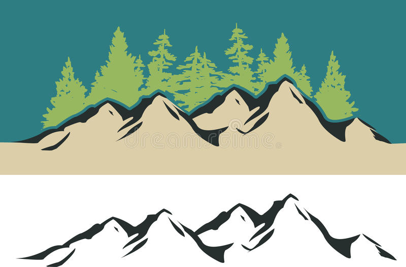 Montagne et arbres illustration stock