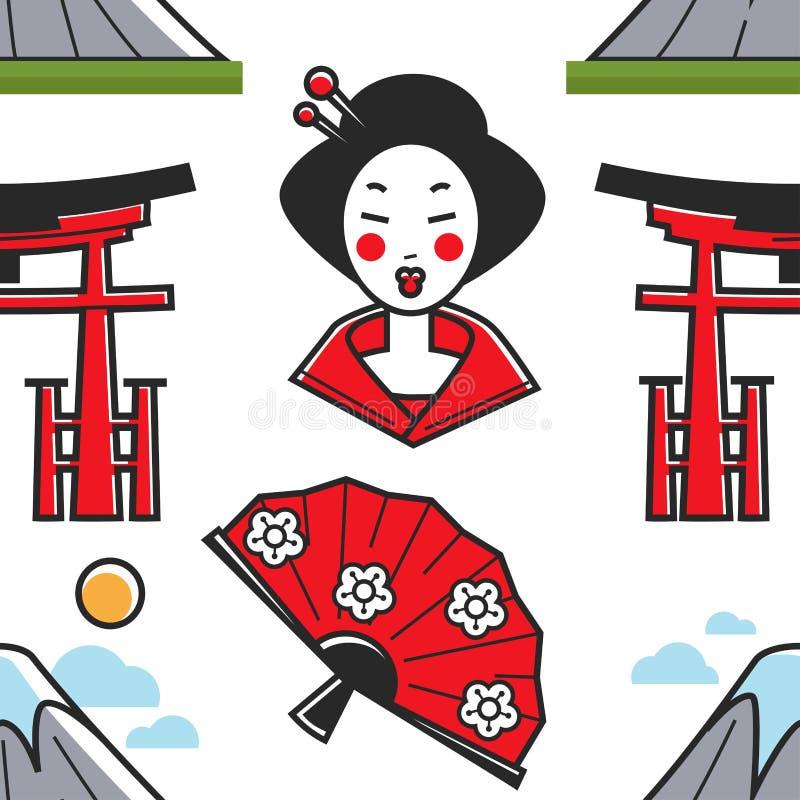 Montagne et fan japonaises de geisha de symboles et de porte de torii illustration stock